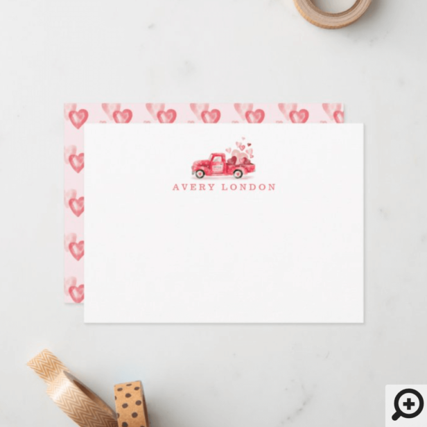 Valentine's Special Delivery Red Watercolor Truck Note Card