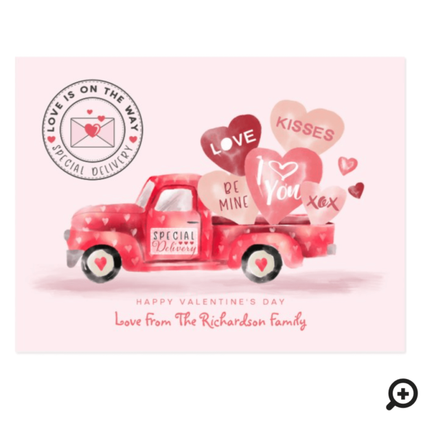 Valentine's Special Delivery Red Watercolor Truck Postcard