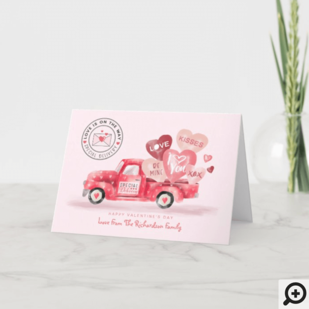 Valentine's Special Delivery Red Watercolor Truck Holiday Card