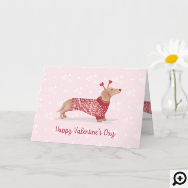 Watercolor Dachshund Dog Valentine's Day Sweater Card Pink