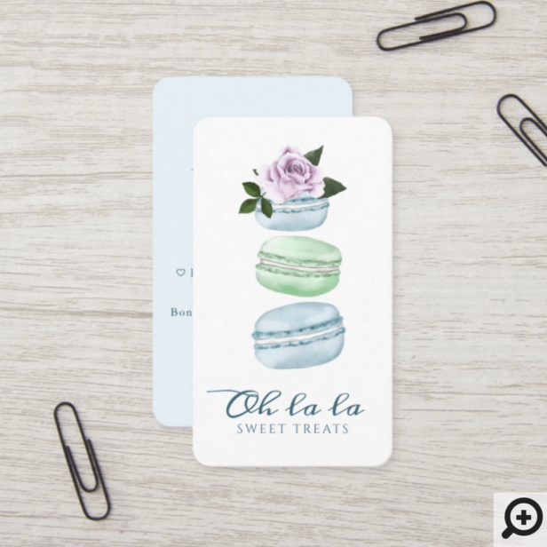 Watercolor Floral Blue Macaron Bakery & Sweets Business Card