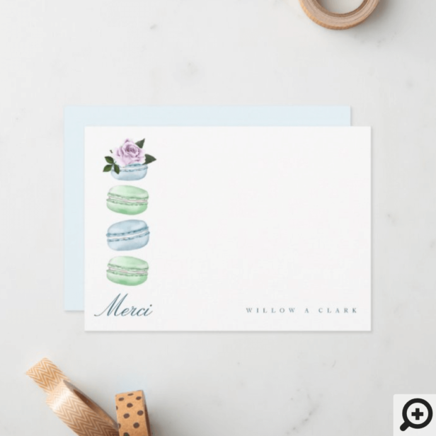 Watercolor Floral Blue Macaron Merci/Thank You Note Card