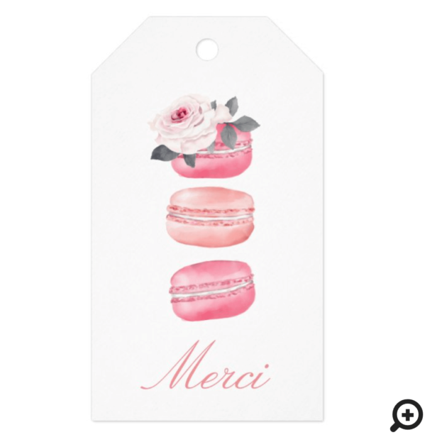 Watercolor Floral Pink Macaron Merci/Thank You Gift Tags