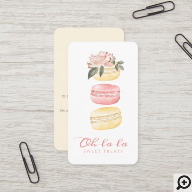 Watercolor Floral Yellow Macaron Bakery & Sweets Business Card