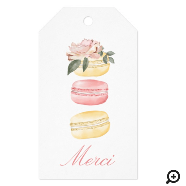 Watercolor Floral Yellow Macaron Merci/Thank You Gift Tags