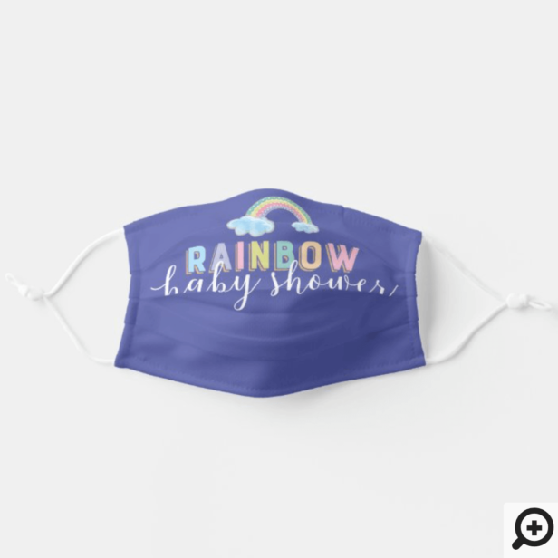 Watercolor Rainbow Stripes Baby Shower Purple Adult Cloth Face Mask