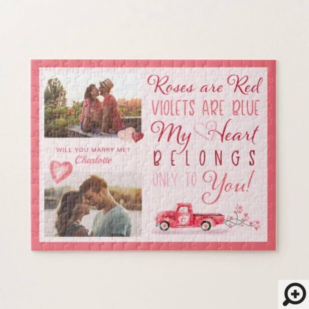 my heart belongs to you,newlyweds first valentine's day,first valentine's day,vintage red truck,watercolor red vintage truck,valentine poem,roses are red poem,couples photo,will you marry me,marry me