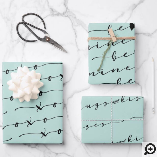 XO XO Be Mine Mint & Black Calligraphy Valentine Wrapping Paper Sheets