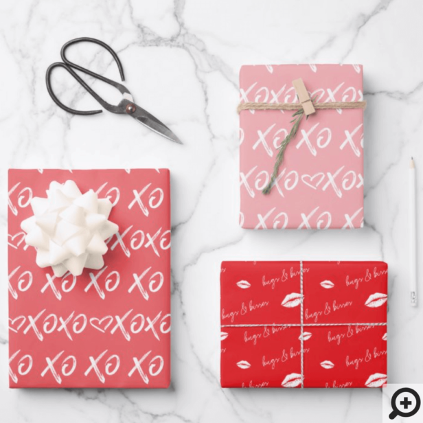 XOXO Hugs & Kisses Brush Script Red & Pink Wrapping Paper Sheets