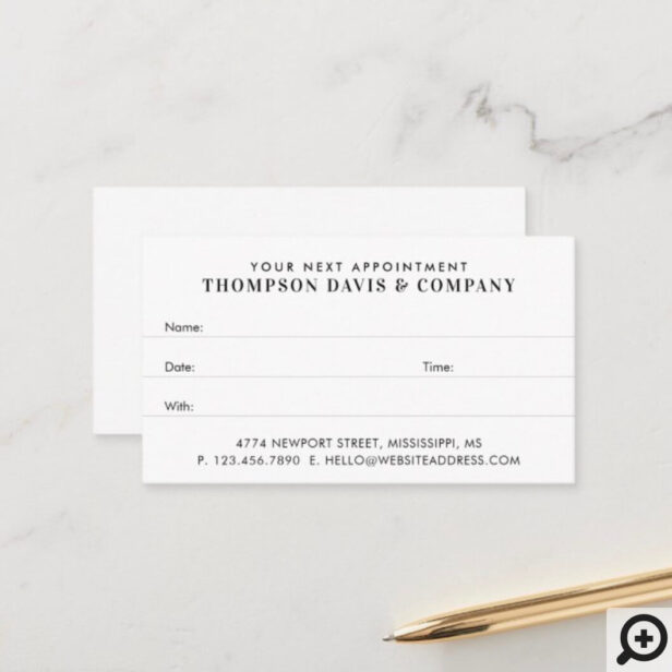 Your Next Appointment Modern Professional Brand Appointment Card