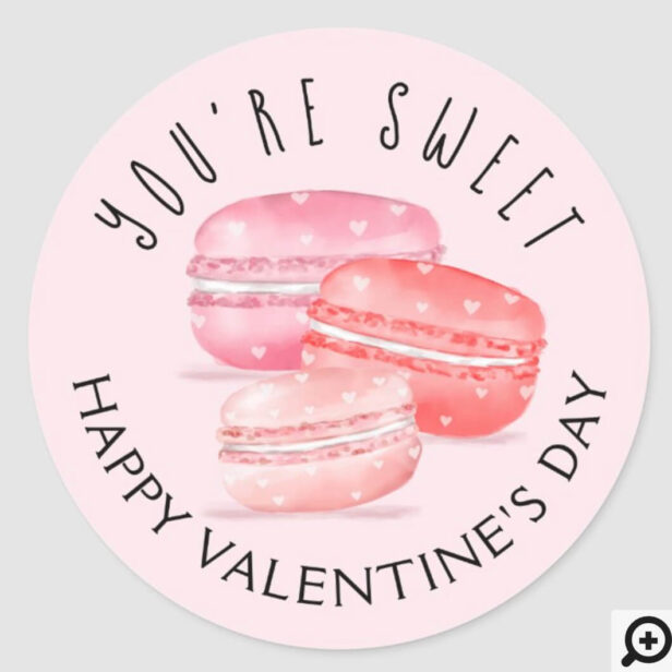 You're Sweet Happy Valentine's Day Macaron Cookies Classic Round Sticker