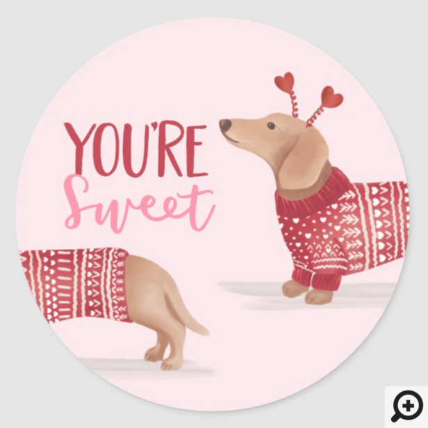 You're Sweet, Watercolor Dachshund Dog Pink Classic Round Sticker