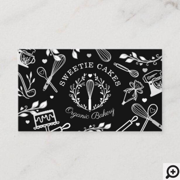 Black & White Baking & Cooking Utensil Bakery Business Card Black & White