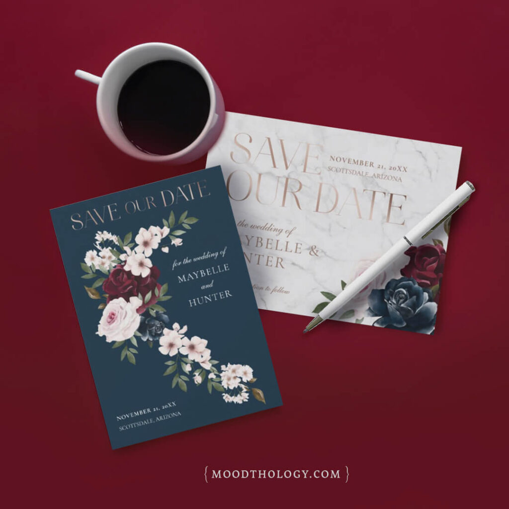 Burgundy & Navy Watercolor Florals Save The Date By Moodthology Papery