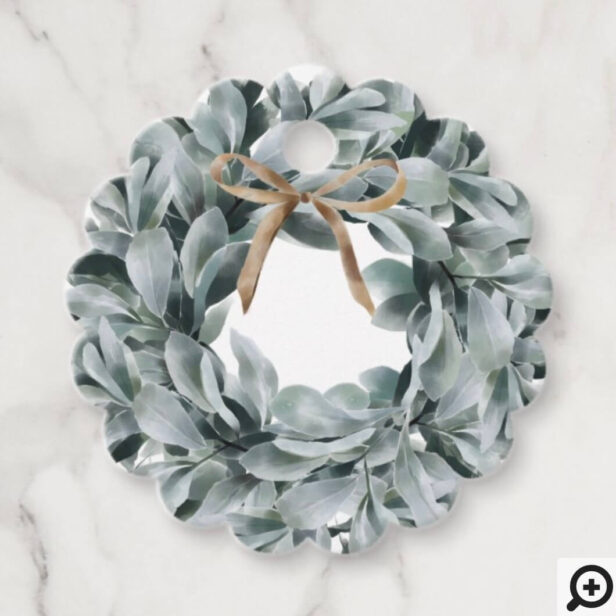 Chic Watercolor Lambs Ear Foliage Wreath & Bow Favor Tags