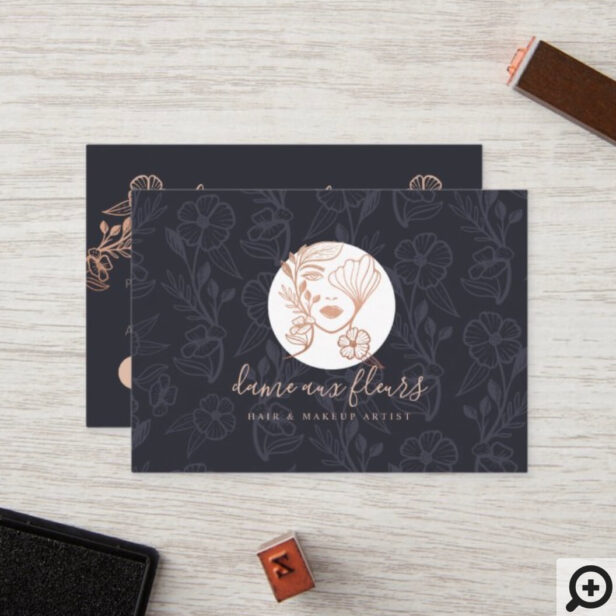 Elegant Floral Blooming Beauty Woman Logo Black Loyalty Card
