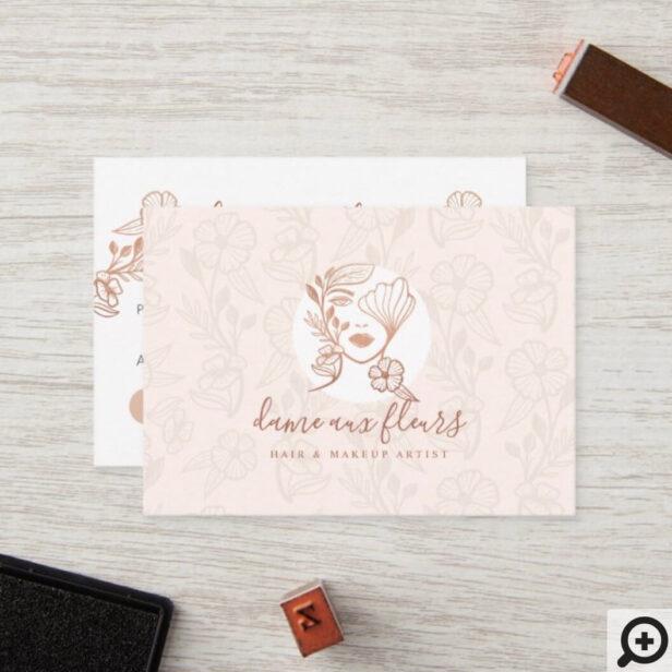 Elegant Floral Blooming Beauty Woman Logo Pink Loyalty Card