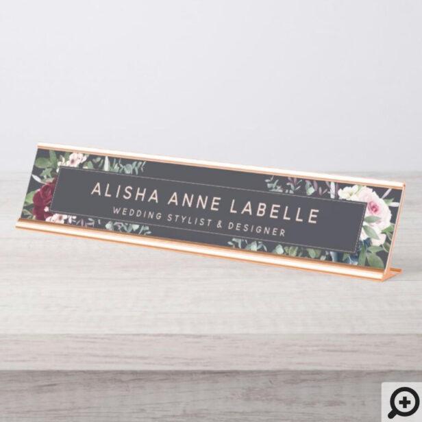 Floral Watercolor Blossoms Dark Navy Graphite Desk Name Plate