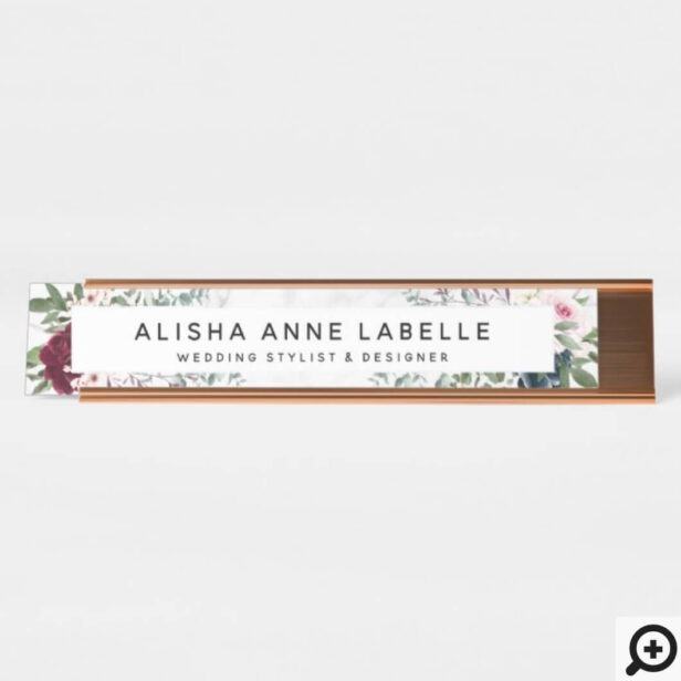 Floral Watercolor Blossoms & White Marble Pattern Desk Name Plate