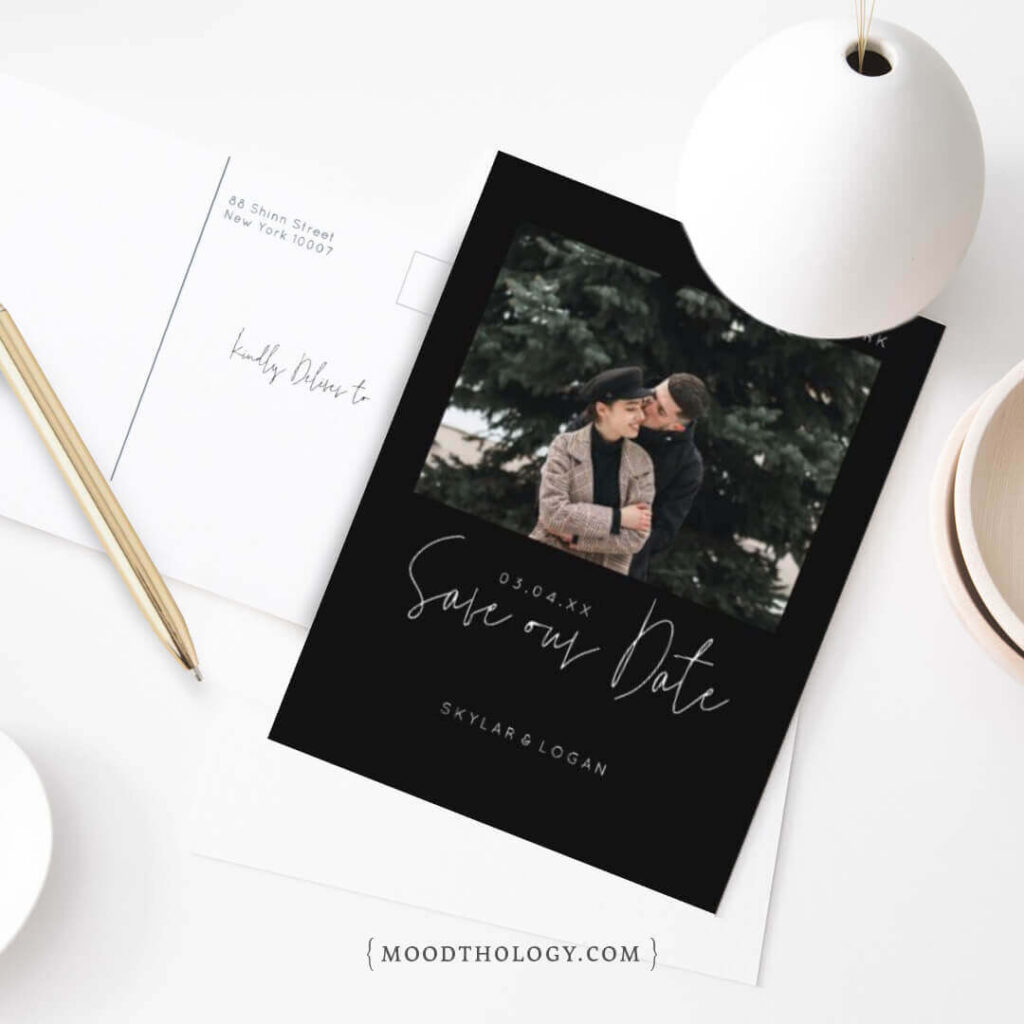 Hand lettering Photo Save the Date By Moodthology Papery