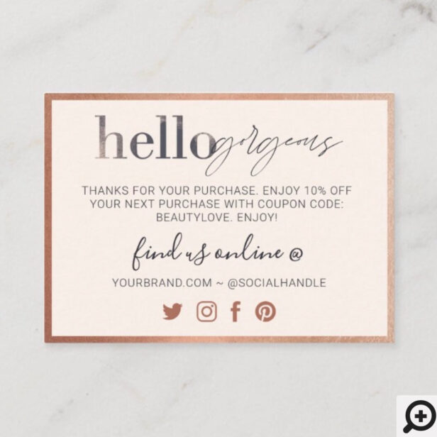 Hello Gorgeous, Thank You For Your Business Beauty Loyalty Card Pink