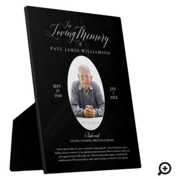 Loving Memory Black Photo Memorial Keepsake Plaque