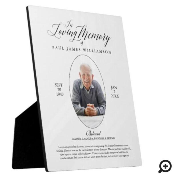 Loving Memory Black/White Photo Memorial Keepsake Plaque