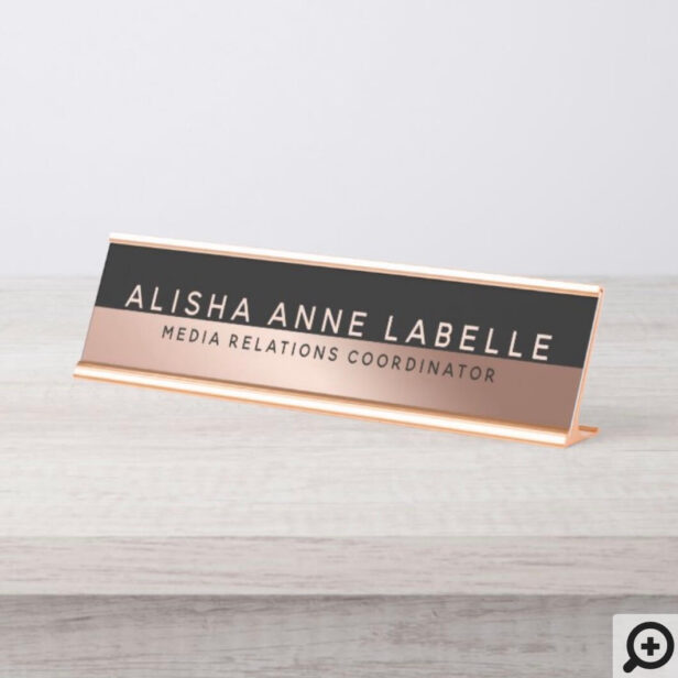 Minimal & Modern Two-Tone Rose Gold Black Graphite Desk Name Plate