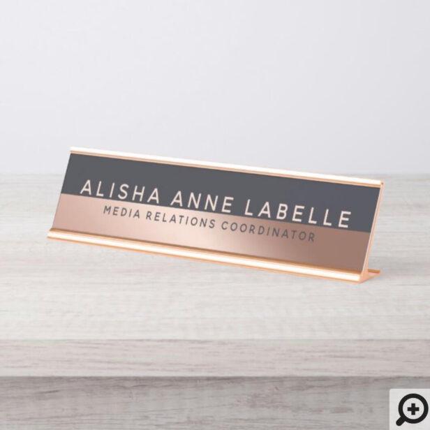 Minimal & Modern Two-Tone Rose Gold Blue Graphite Desk Name Plate