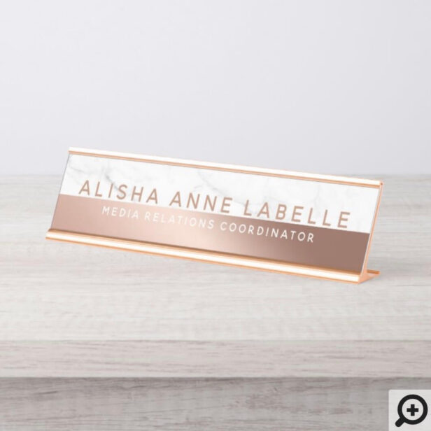 Minimal & Modern Two-Tone Rose Gold White Marble Desk Name Plate