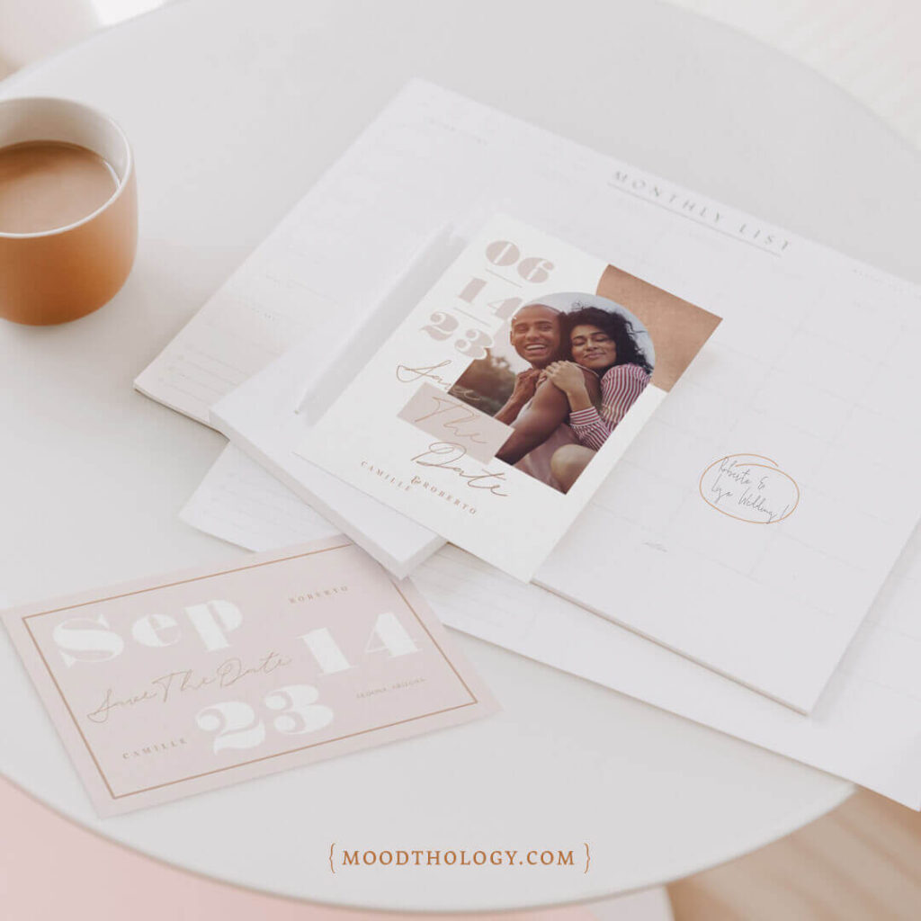 Modern Geometric Bold Print Save the Date Collection