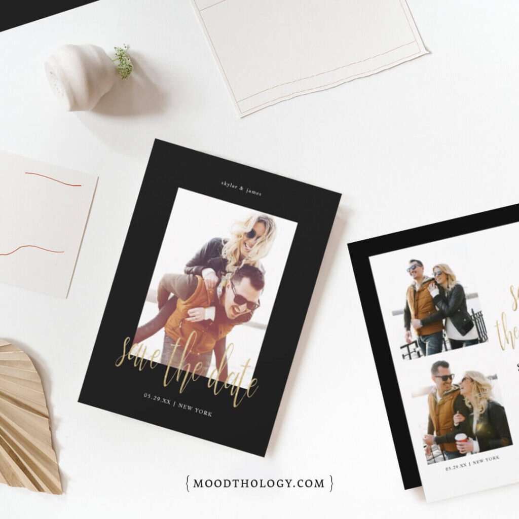 Modern Gold Script Save The Date Photo By Moodthology Papery