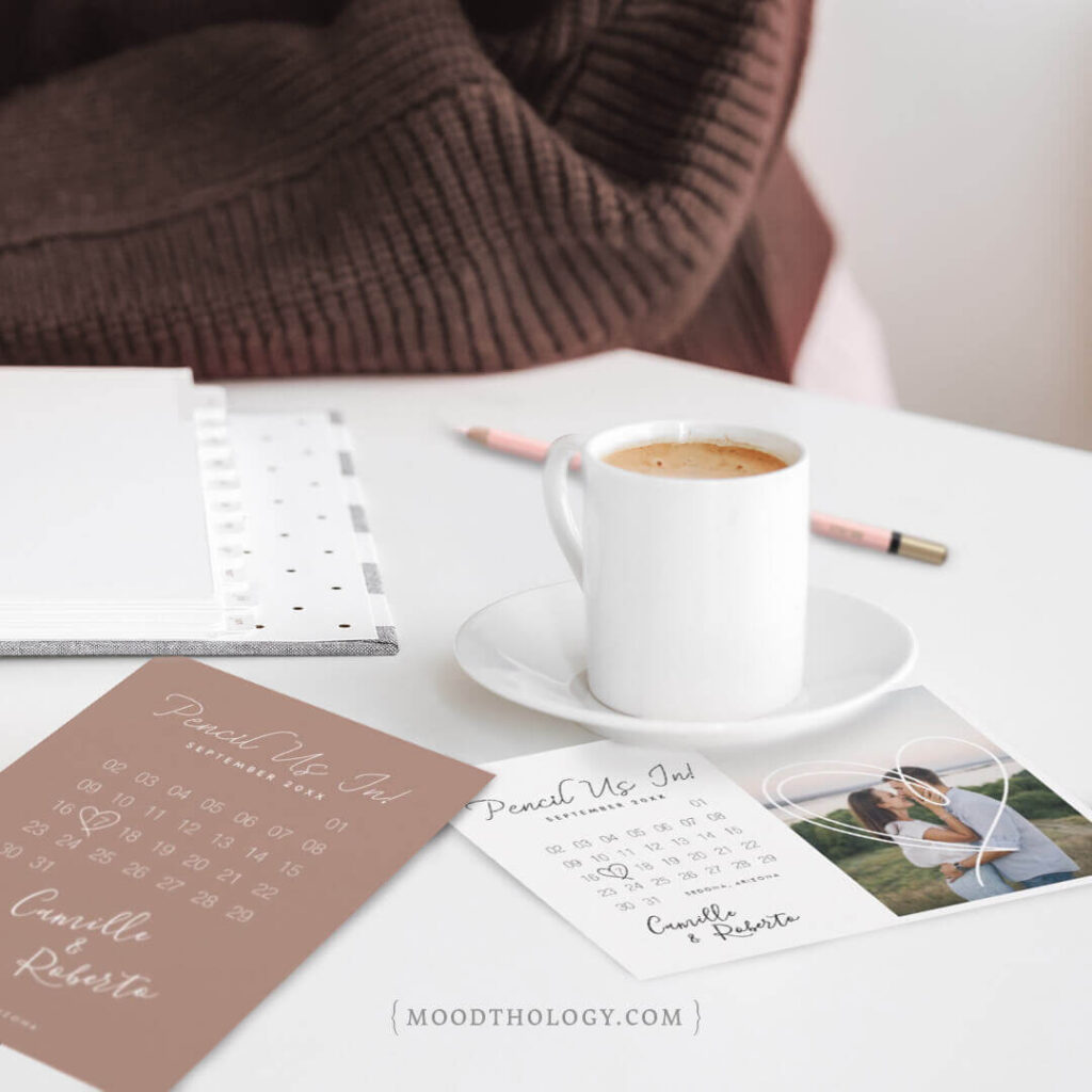 Pencil Us In! Save the Date Calendar Collection By Moodthology Papery