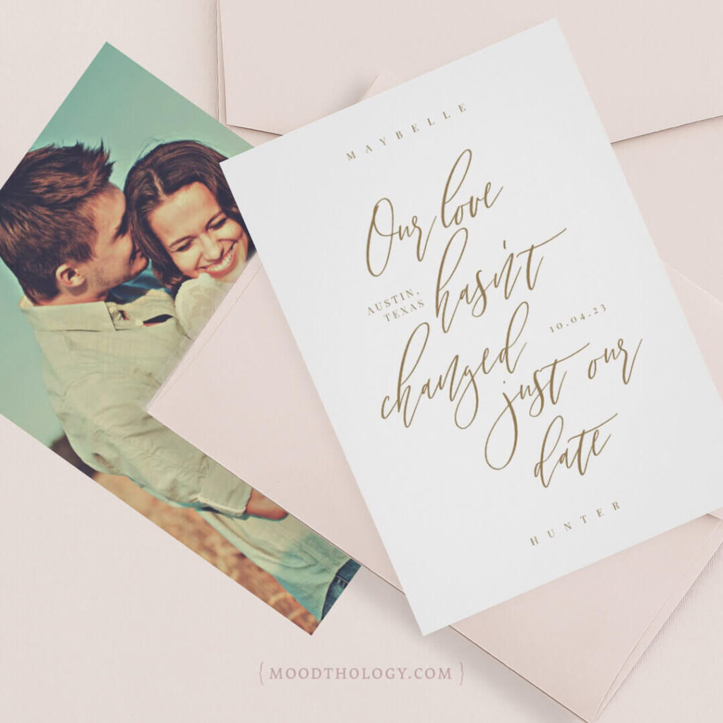 Plot Twist Calligraphy & Photo Save the Date By Moodthology Papery