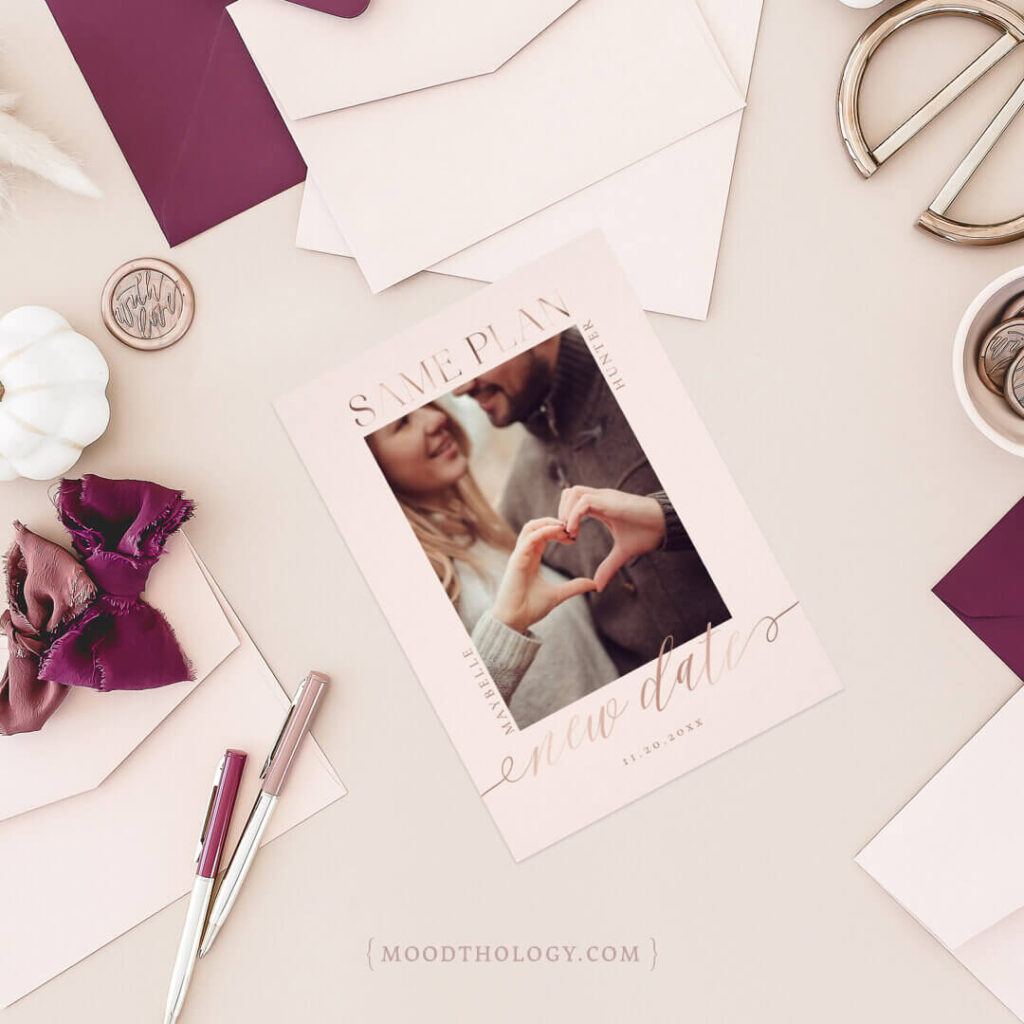 Modern Minimal Rose Gold Save the Date By Moodthology Papery