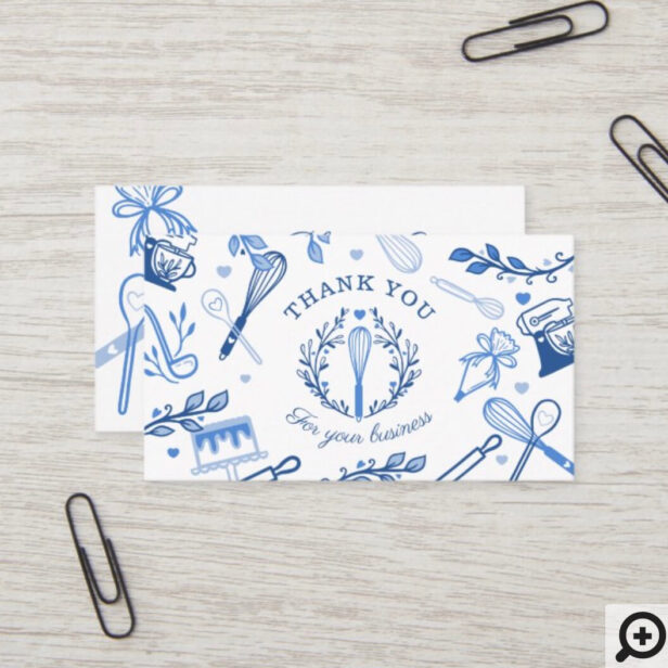 Royal Blue Baking & Cooking Utensil Thank You Business Card