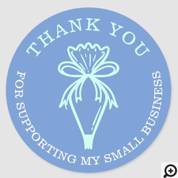Thank You For Your Business Bakery Pastry Bag Teal Classic Round Sticker
