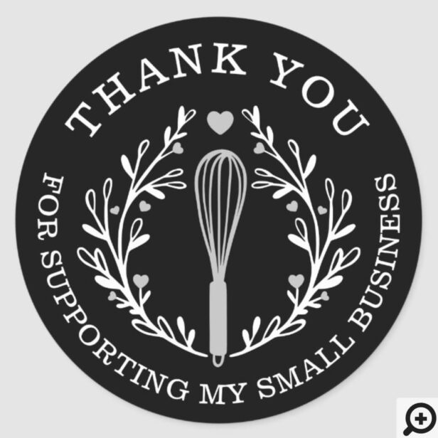 Thank You For Your Business Bakery Whisk Logo Classic Round Sticker Black & White