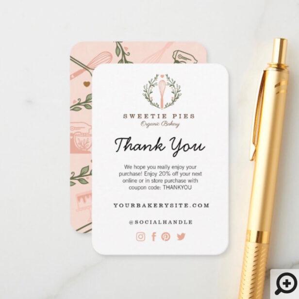 Thank You Pink Baking & Cooking Utensil Bakery Enclosure Card