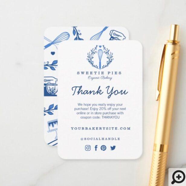 Thank You Royal Blue Baking Utensil Bakery Enclosure Card