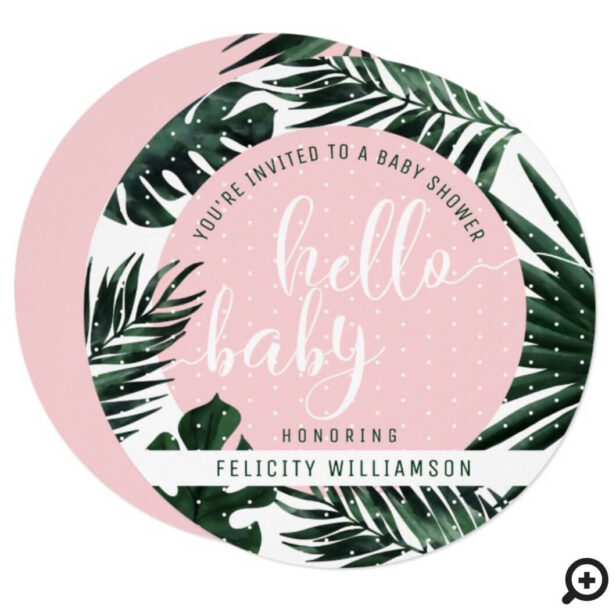 Tropical Palm Tree Leaves & Pink Girl Baby Shower Invitation