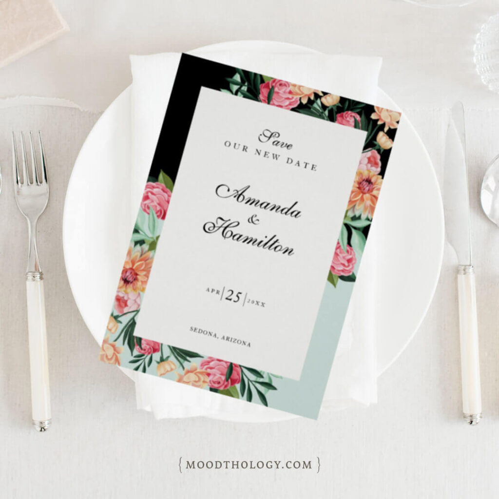 Vibrant Floral Blooms Save The Date By Moodthology Papery