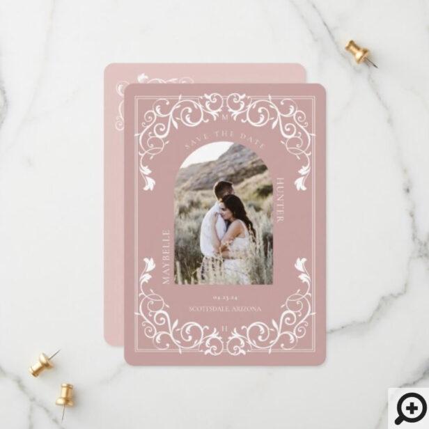 Vintage Antique Flourish Scroll Blush Pink Photo Save The Date