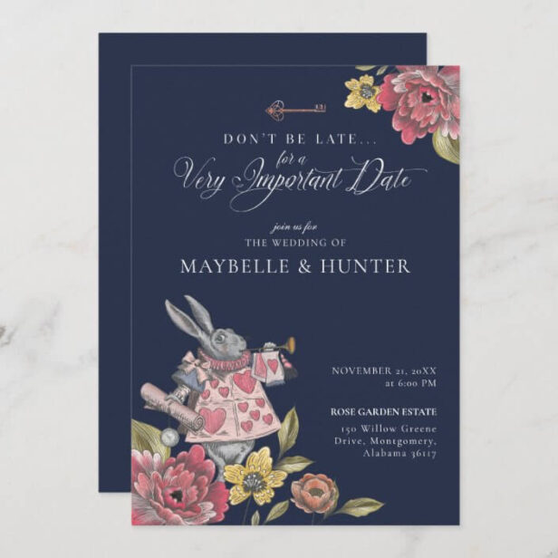 Alice In Wonderland Vintage Chic Storybook Wedding Invitation Navy Blue