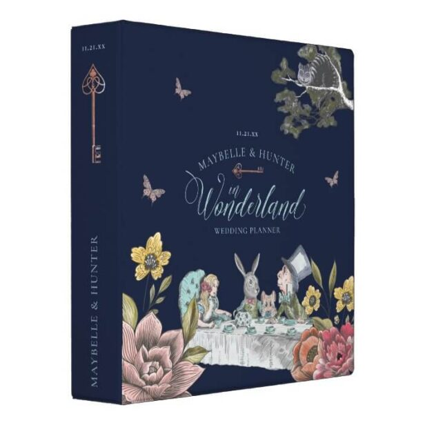 Alice In Wonderland Vintage Chic Wedding Planner 3 Ring Binder Navy Blue