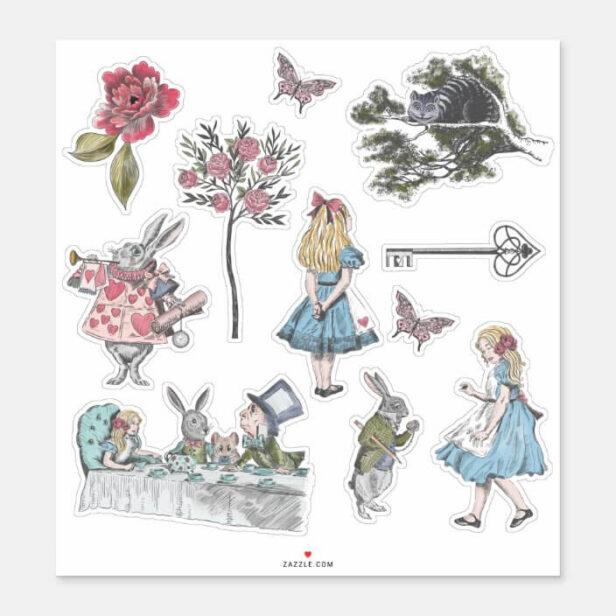 Alice In Wonderland Vintage Storybook Characters Sticker