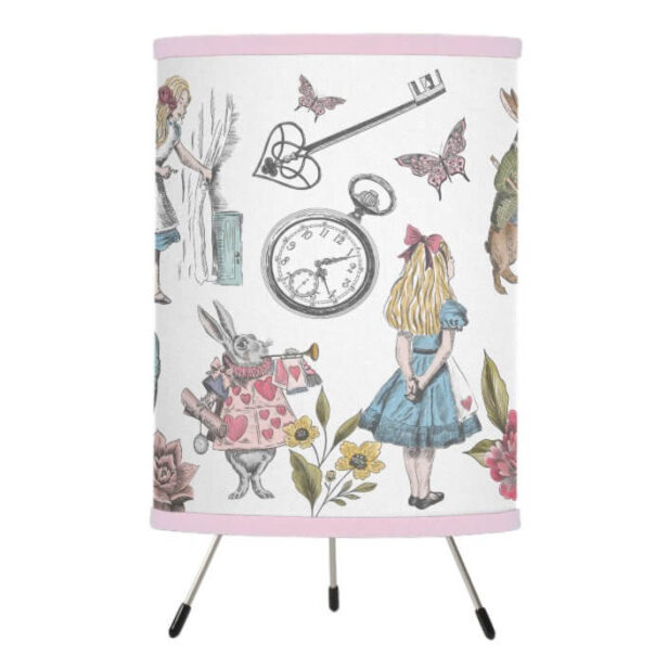 Alice In Wonderland Vintage Storybook Characters Tripod Lamp
