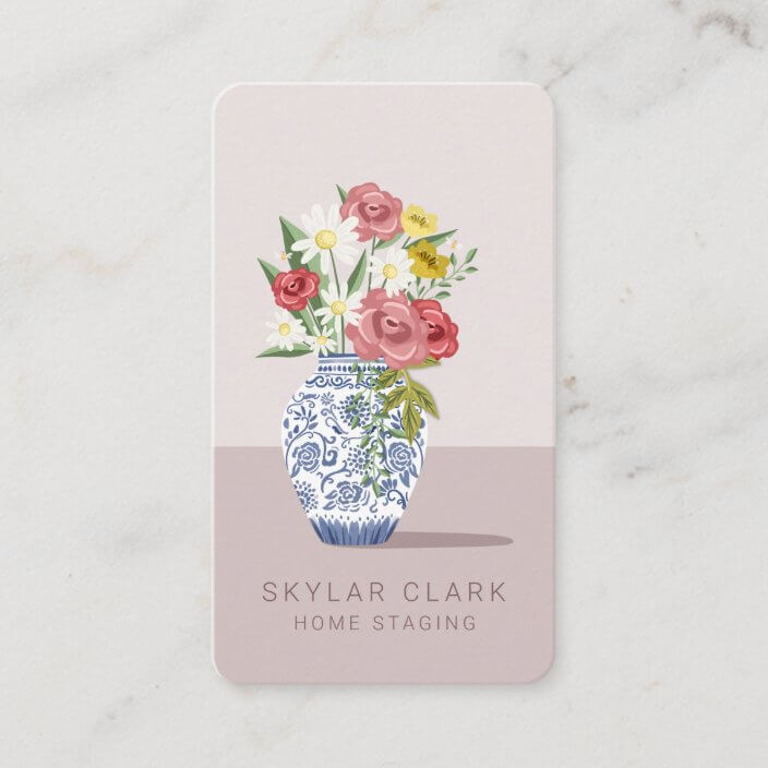 Blue & White Ceramic Vase Bouquet, Home Staging Business Card