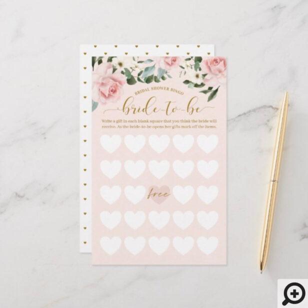 Bridal Shower Bride-To-Be Bingo Watercolor Florals