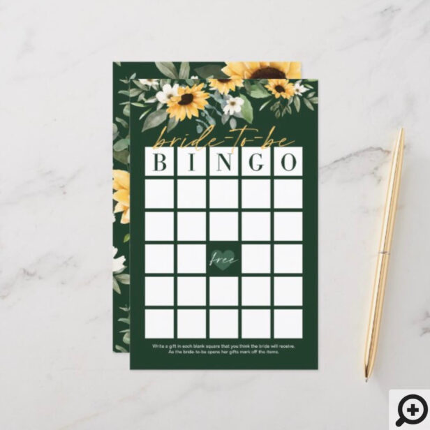Bride-To-Be Bingo Sunflower Bridal Shower Game